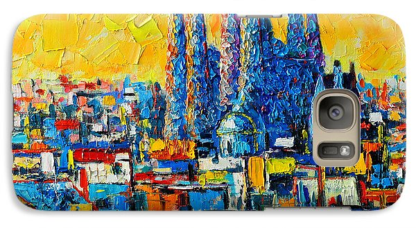 Abstract Sunset Over Sagrada Familia In Barcelona Galaxy Case by Ana Maria Edulescu