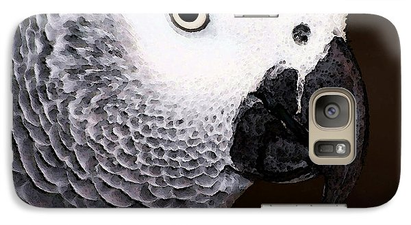 African Gray Parrot Art - Seeing Is Believing Galaxy Case by Sharon Cummings