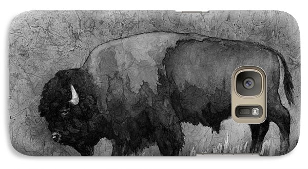 Monochrome American Buffalo 3  Galaxy Case by Hailey E Herrera