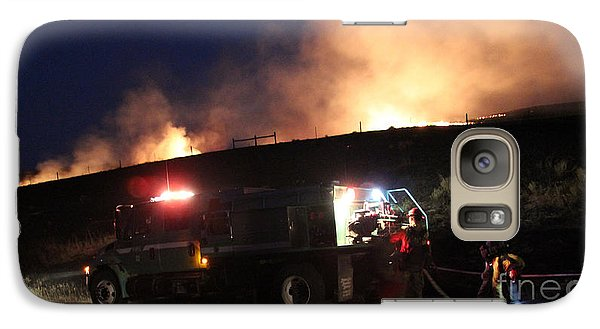 Galaxy Case featuring the photograph An Engine Crew Works At Night On White Draw Fire by Bill Gabbert
