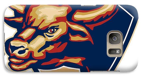 Angry Bull Head Crest Retro Galaxy S7 Case by Aloysius Patrimonio