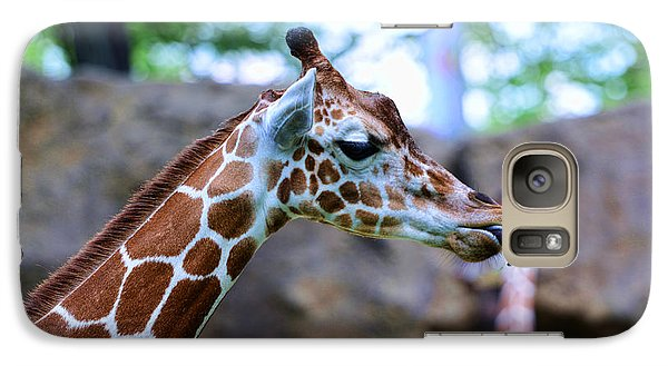 Animal - Giraffe - Sticking Out The Tounge Galaxy Case by Paul Ward