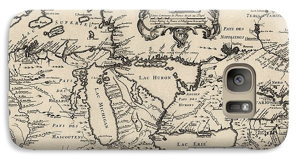 Antique Map Of The Great Lakes By Jacques Nicolas Bellin - 1755 Galaxy S7 Case by Blue Monocle