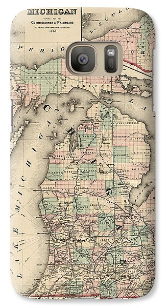 Antique Railroad Map Of Michigan By Colton And Co. - 1876 Galaxy S7 Case by Blue Monocle