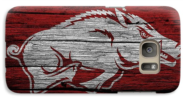 Arkansas Razorbacks On Wood Galaxy S7 Case by Dan Sproul