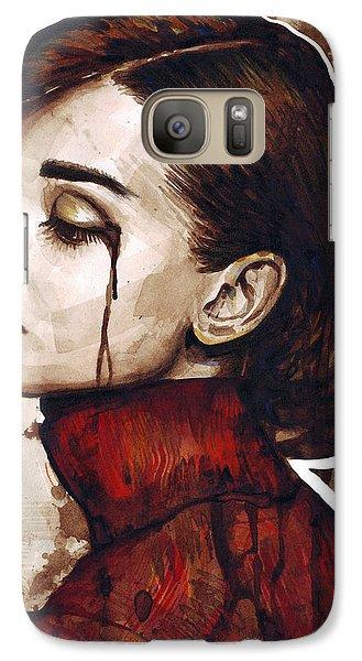 Audrey Hepburn Portrait Galaxy S7 Case by Olga Shvartsur