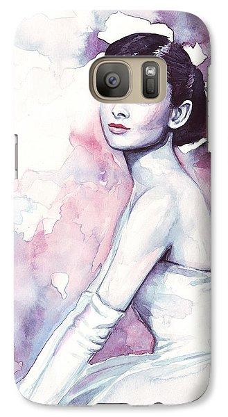 Audrey Hepburn Purple Watercolor Portrait Galaxy S7 Case by Olga Shvartsur