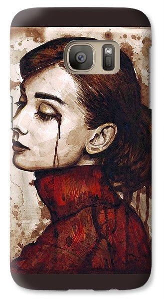 Audrey Hepburn - Quiet Sadness Galaxy Case by Olga Shvartsur