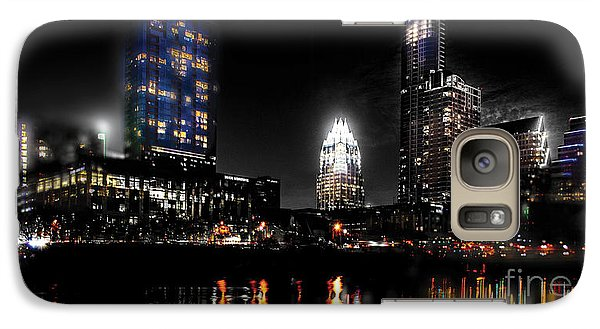 Austin Night Skyline Reflections  Galaxy S7 Case by Gary Gibich