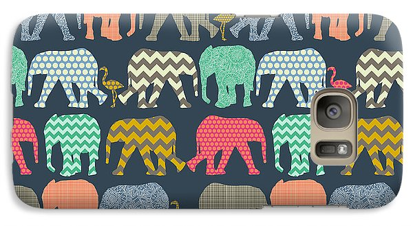 Baby Elephants And Flamingos Galaxy Case by Sharon Turner