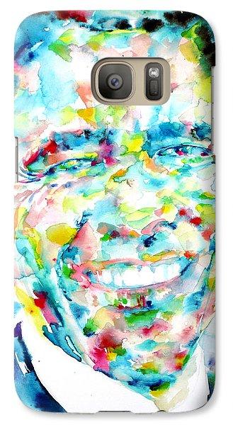 Barack Obama - Watercolor Portrait Galaxy S7 Case by Fabrizio Cassetta