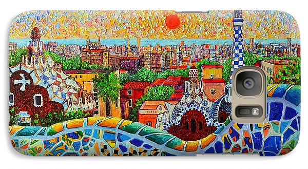 Barcelona View At Sunrise - Park Guell  Of Gaudi Galaxy Case by Ana Maria Edulescu