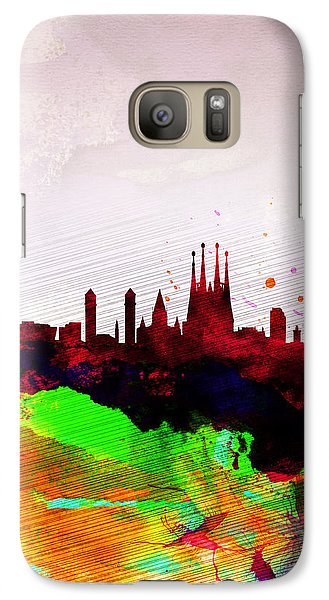 Barcelona Watercolor Skyline Galaxy Case by Naxart Studio