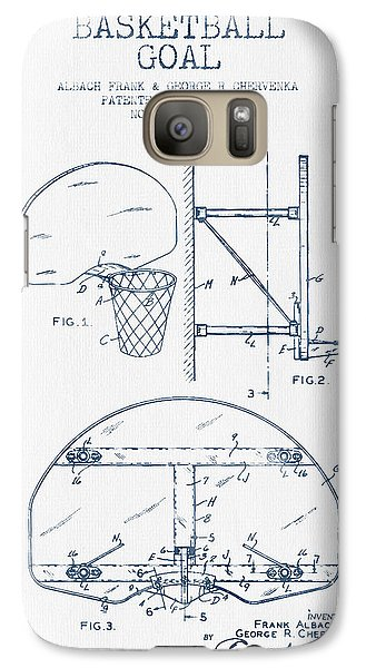 Basketball Goal Patent From 1944 - Blue Ink Galaxy S7 Case by Aged Pixel