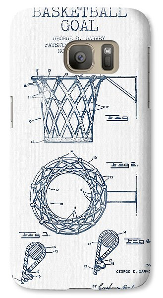 Basketball Goal Patent From 1951 - Blue Ink Galaxy S7 Case by Aged Pixel