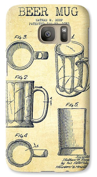 Beer Mug Patent Drawing From 1951 - Vintage Galaxy S7 Case by Aged Pixel