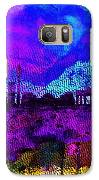 Berlin Watercolor Skyline Galaxy Case by Naxart Studio