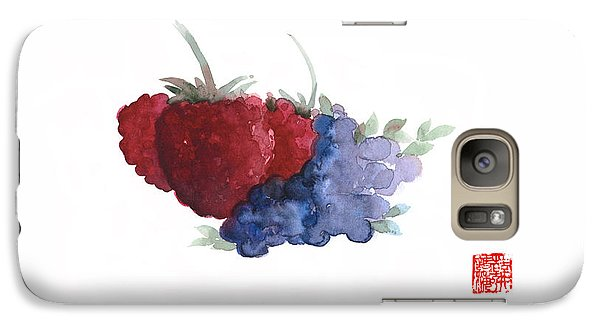 Berries Red Pink Black Blue Fruit Blueberry Blueberries Raspberry Raspberries Fruits Watercolors  Galaxy Case by Johana Szmerdt