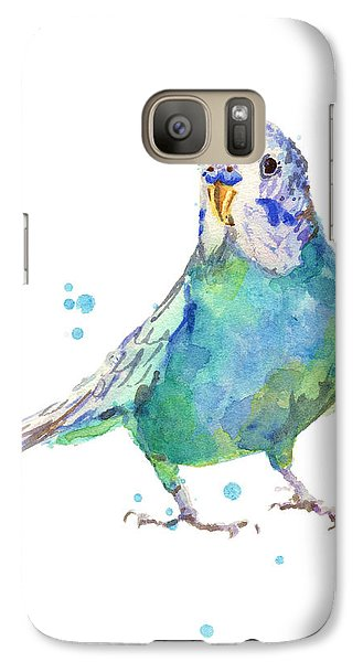 Bertie Wonderblue The Budgie Galaxy S7 Case by Alison Fennell