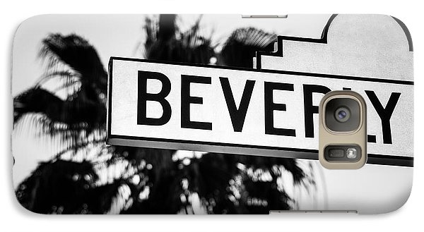 Beverly Boulevard Street Sign In Black An White Galaxy S7 Case by Paul Velgos