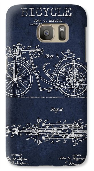 Bicycle Patent Drawing From 1896 - Navy Blue Galaxy S7 Case by Aged Pixel