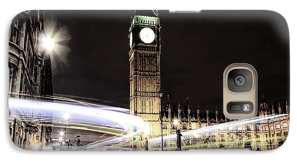 Big Ben With Light Trails Galaxy Case by Jasna Buncic