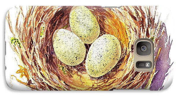 Bird Nest A Happy Trio Galaxy Case by Irina Sztukowski