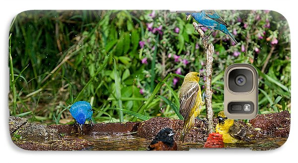 Birds Bathing Galaxy Case by Anthony Mercieca