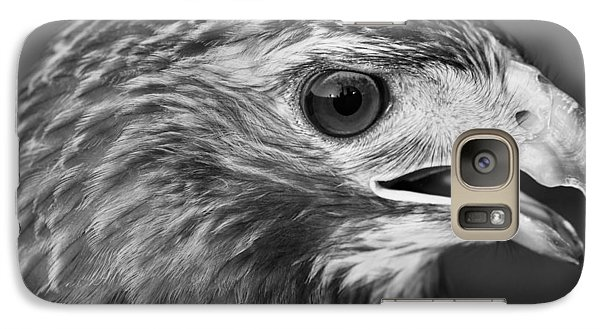 Black And White Hawk Portrait Galaxy Case by Dan Sproul