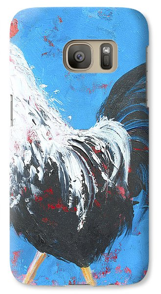 Black And White Rooster On Blue  Galaxy S7 Case by Jan Matson
