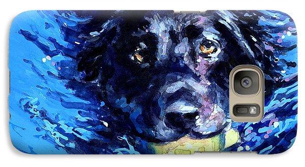 Black Lab  Blue Wake Galaxy Case by Molly Poole
