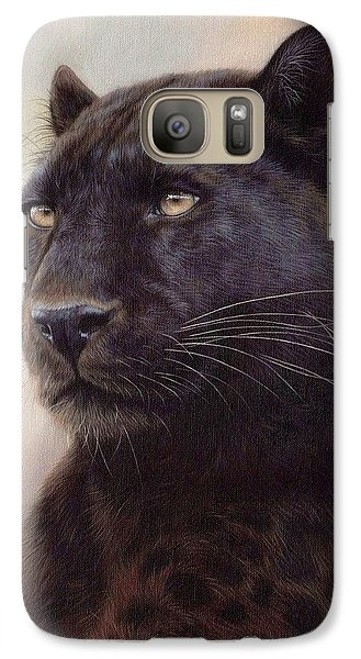 Black Leopard Painting Galaxy S7 Case by Rachel Stribbling