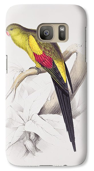 Black Tailed Parakeet Galaxy S7 Case by Edward Lear