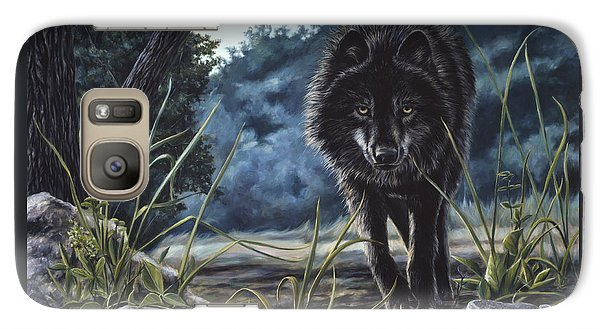 Black Wolf Hunting Galaxy S7 Case by Lucie Bilodeau