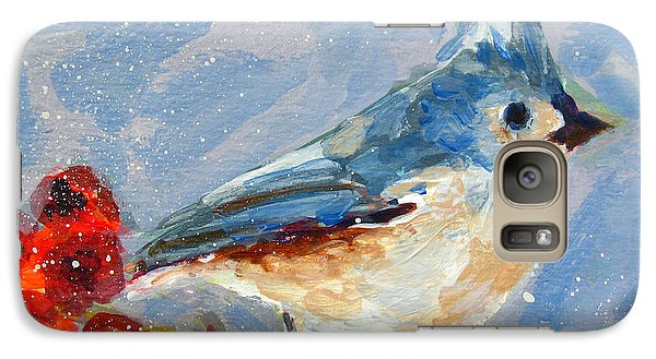 Blue Bird In Winter - Tuft Titmouse Modern Impressionist Art Galaxy S7 Case by Patricia Awapara