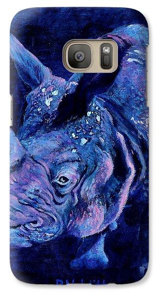 Indian Rhino - Blue Galaxy S7 Case by Paula Noblitt