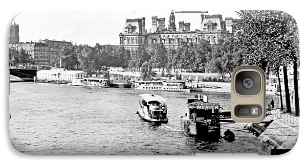Galaxy Case featuring the photograph Boats In The Seine River Paris 1903 Vintage Photograph by A Gurmankin