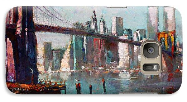 Brooklyn Bridge And Twin Towers Galaxy Case by Ylli Haruni