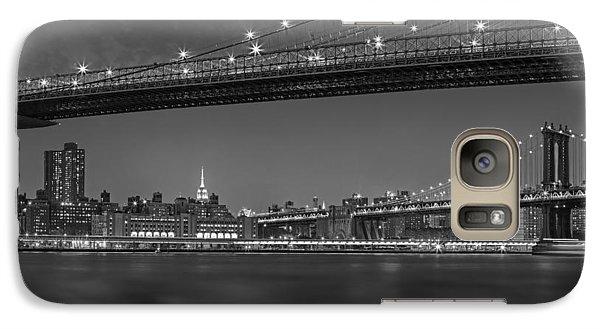 Brooklyn Bridge Frames Manhattan Bw Galaxy Case by Susan Candelario
