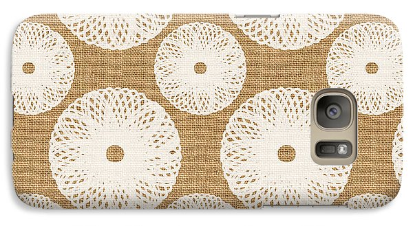 Brown And White Floral Galaxy Case by Linda Woods