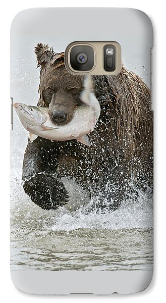 Brown Bear With Salmon Catch Galaxy Case by Gary Langley