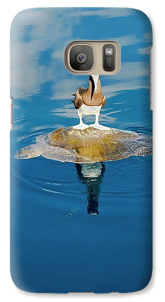 Brown Booby And Marine Turtle Galaxy S7 Case by Christopher Swann