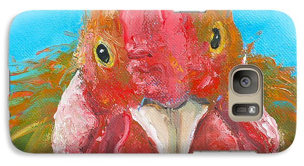 Brown Rooster On Blue Galaxy S7 Case by Jan Matson