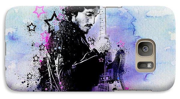 Bruce Springsteen Splats And Guitar 2 Galaxy S7 Case by Bekim Art