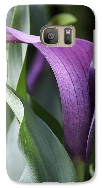 Calla Lily In Purple Ombre Galaxy S7 Case by Rona Black