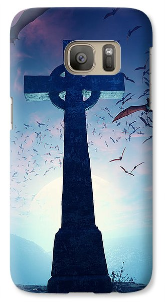 Celtic Cross With Swarm Of Bats Galaxy Case by Johan Swanepoel