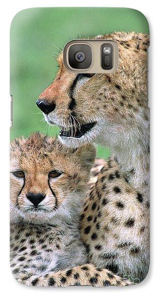 Cheetah Mother And Cub Masai Mara Galaxy Case by
