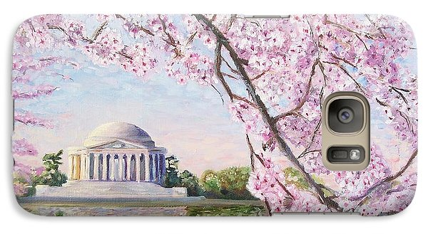 Jefferson Memorial Cherry Blossoms Galaxy Case by Patty Kay Hall