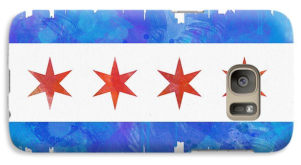 Chicago Flag Watercolor Galaxy Case by Mike Maher