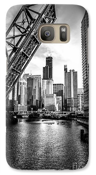 Chicago Kinzie Street Bridge Black And White Picture Galaxy Case by Paul Velgos